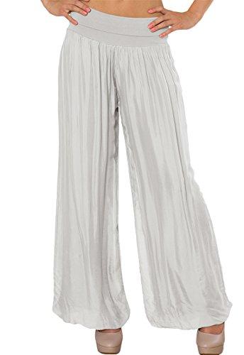 CASPAR KHS010 Damen elegante lange Seiden Chiffon Marlene Hose / Hosenrock mit hohem Stretch Bund, Farbe:hell grau (Harem Seide)