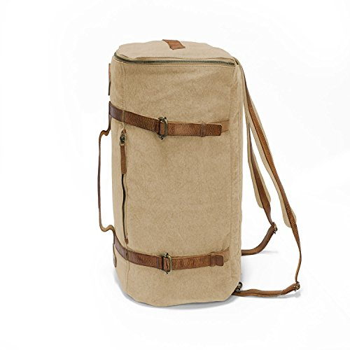 DRAKENSBERG Kimberley Ultimate Duffel Bag, sac à dos, sac de voyage, fourre-tout, bagage à main, artisanat, toile, canvas, cuir de buffle, expédition, aventure, vintage, beige, marron Marron - Sable