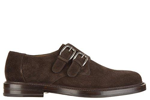 Gucci scarpe stringate classiche uomo in camoscio monkstrap queen marrone EU 42 322299 CMA00 2140