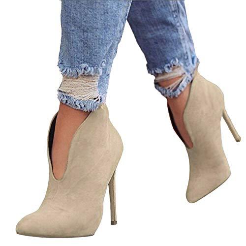 Minetom Stivaletti Donna con Tacco Inverno Stivali Caviglia Eleganti  Camoscio Scarpe Invernali Autunno Boots Platform Zip 0ec95c8e6f5