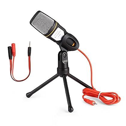 Micrófono de condensador con soporte de trípode...