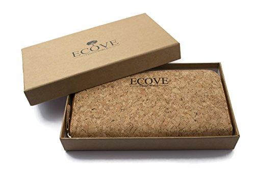 ECOVE - hochwertige und elegante Kork Damengeldbörse, Portemonnaie, Geldbörse mit vielen Fächern, Größe: 20cm x 10cm - 4