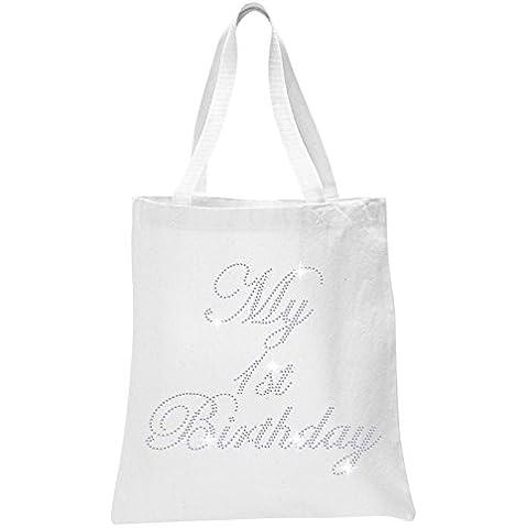 Neve cristallo il mio primo compleanno bambino doccia Tote Bags personalizzato partito favore sacchetti regalo Bianco