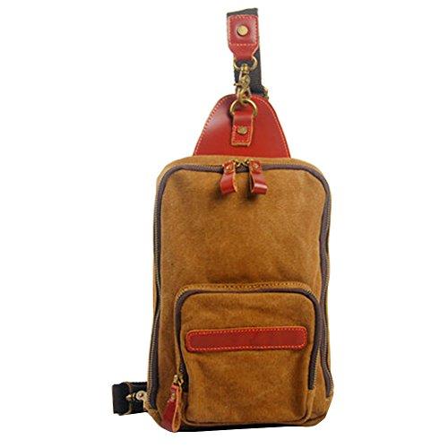 GSPStyle Unisex Canvas Leder Brusttasche Herrentasche Damentasche Reißverschluss Schultertasche Sporttasche Braun