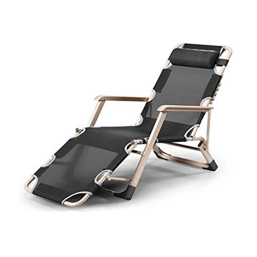 Yalztc-zyq16 Mehrere Liegestühle, Sessel faltbar Mittagspause Nickerchen Bett Balkon zu Hause Freizeit zurück Strand einzigen faul Couch tragbaren Stuhl (Stil : Black2)