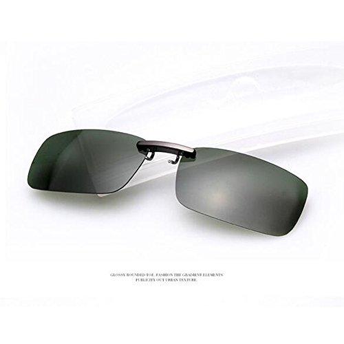 Zimo Polarisierte Unisex Sonnenbrille Clip Brillen Pol Aufsatz für Brillenträger (Grün)