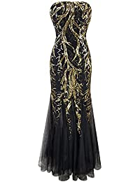 Angel-fashions Femme Mermaid Direction Unique bretelles Paillette Arbre net robe