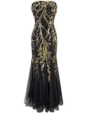 Angel-fashions Vestito a sirena abito con paillettes senza spalline Paillette ramo di un albero netto delle donne