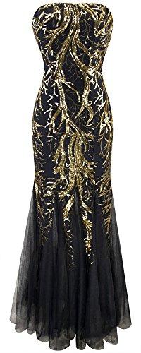 Angel-fashions Femme Mermaid Direction Unique bretelles Paillette Arbre net robe Noir