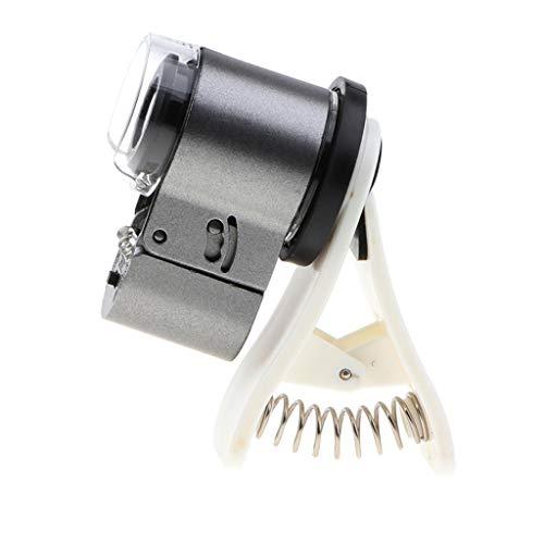 IPOTCH 65 x Vergrößung Universal Mobile Phone Tragbare Mini Clip UV LED Mikroskop Vergroesserungs...