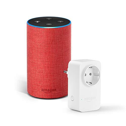 Amazon Echo (2. Gen.), (RED)-Edition + Amazon Smart Plug (WLAN-Steckdose), funktionert mit Alexa