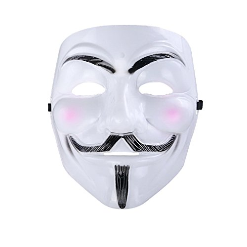 """YAZILIND de moda máscara de cabeza blanca de horror """"V"""" cara forma de fiesta de disfraces de Halloween Máscara de máscaras"""