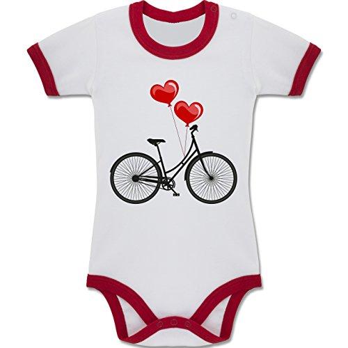 Shirtracer Up to Date Baby - Fahrrad Herz Luftballons - 3-6 Monate - Weiß/Rot - BZ19 - Zweifarbiger Baby Strampler für Jungen und Mädchen