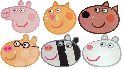 z (Peppa Pig) - Multipack - 6 Gesichtsmasken aus steifen Karten - Candy Cat, Danny Dog, Pedro Pony, Peppa Pig, Suzie Sheep und Zoe Zebra ()