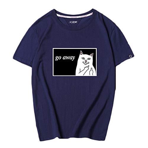Aza Boutique Paar T-Shirt mit Tasche in College-Studentin-Stil mit Mittelfinger zeigende Katze