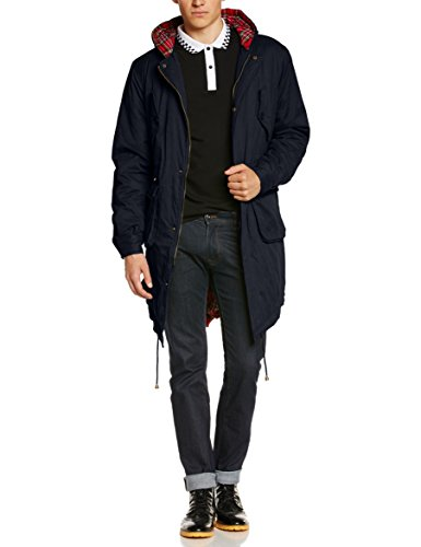 Merc of London Herren Tobias Parka Mantel, Blau (Navy), Large (Herstellergröße: L) -