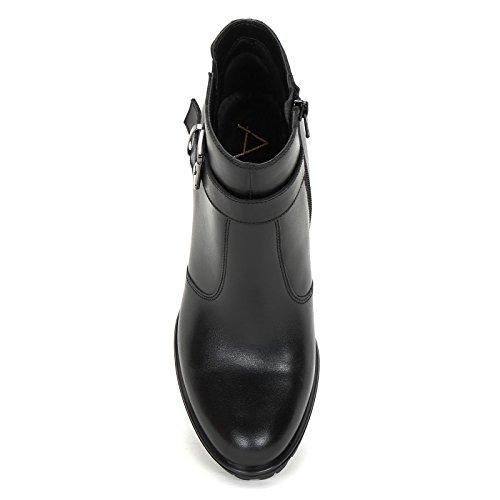 Alesya by Scarpe&Scarpe - Stiefeletten mit Absatz und Schnalle, Leder, mit Absätzen 8 cm Schwarz