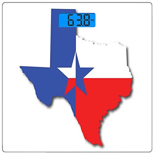 Präzisions-Digital-Körpergewichtswaage Texas Star Ultra Slim Gehärtetes Glas Personenwaage Genaue Gewichtsmessungen, Umriss der Texas-Karte Amerikanischer Südwesten Austin Houston City, Vermilion Whit