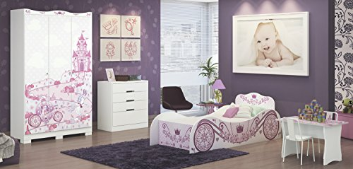 Princess Carriage Single Bed Frame, Pink