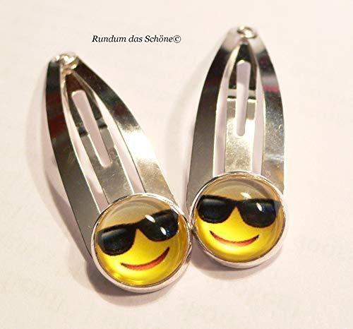 2 Haarspangen SMILE Haarclips mit Cabochon