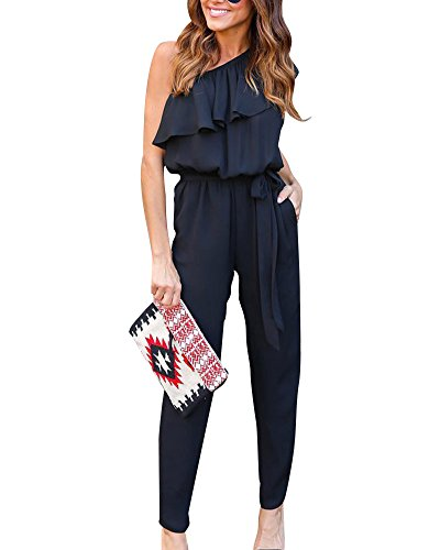 Women's Casual Off Shoulder Sleeveless Trousers Sets Jumpsuit Romper Playsuit