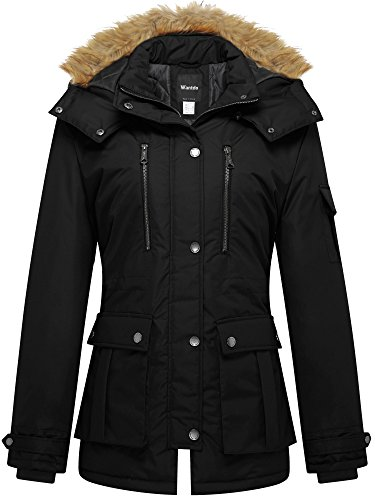 Wantdo Damen Winterjacke Parka Steppmantel mit abnehmbarer fell kapuze Schwarz Medium (Leinen Damen Shell)