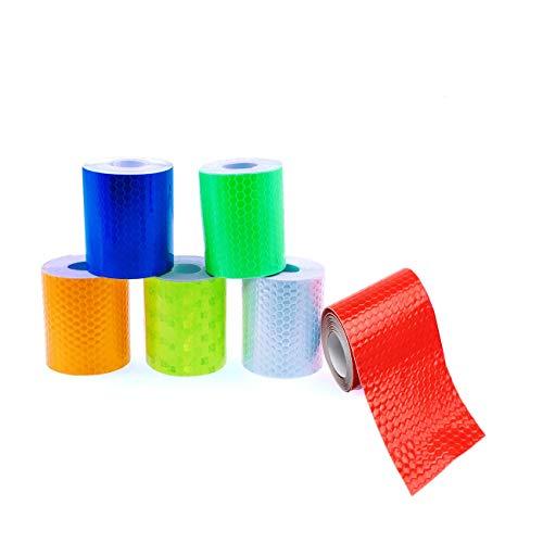 Jzk 6 x impermeabile bande catarifrangente adesivo moto 5cm x 3m, nastro adesivo riflettente strisce rifrangenti per bici auto vestiti, argento bianco blu giallo verde rosso arancione