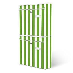 BANJADO Briefkastenanlage 2 fach | Stahl weiß mit 2 Briefkästen | Doppelbriefkasten 36x64x10cm | inklusive Namensschild | Wandmontage mit Motiv Streifen Grün