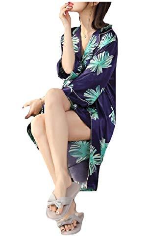 CuteRose Womens Lounge Bathrobe 2pcs Floral Print Charmeuse Nightgowns Blue S -