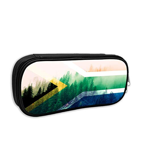 South Africa Flag with Forest Pencil Case Pouch Bag Multifunction Cosmetic Makeup Bag School Office Storage Organizer -