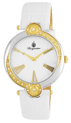 Burgmeister Armbanduhr für Damen mit Analog Anzeige, Quarz-Uhr und Lederarmband - Wasserdichte Damenuhr mit zeitlosem, schickem Design - klassische, elegante Uhr für Frauen - BM811-186 Garland