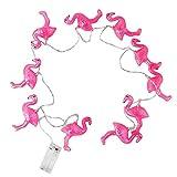 QIANGUANG Flamingo luces de cadena 10 LED Flamenco Luces de cadena Patio Jardín Residencia universitaria Cuarto Boda Fiesta Navidad 1.2m