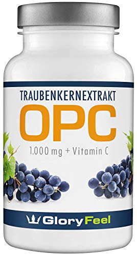 OPC Grape Seed Extract - 120 vegan and concentrated OPC capsules. Pure OPC + Vitamin C - 100% natural antioxidant, 2 months of supply. Premium quality of German manufacture