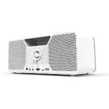 Dashbon Flicks 140 Kabelloser Boombox HD Projektor (HDMI, Bluetooth, Aux, USB, 700 ANSI Lumen, Kontrast 10000:1, HD Ready, 3-Wege Lautsprecher, Vertikale Trapezkorrektur) weiß