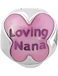 Uniqueen, con tapón de Bloqueo espaciadores Loving Nana Hermana (Cuentas de Ajuste Colgantes Pulsera