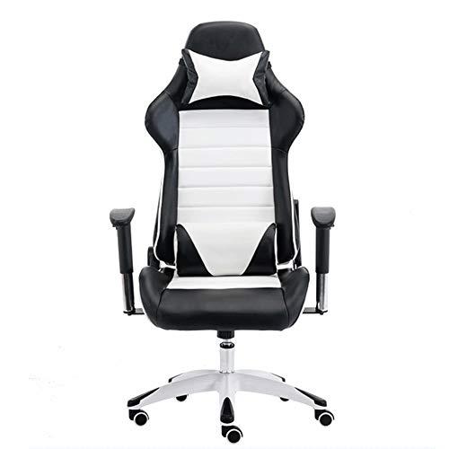 EAHKGmh Gaming Chair Bürostuhl High Back Computer Stuhl PU-Leder Schreibtischstuhl Executive Ergonomisch Verstellbarer drehbarer Arbeitsstuhl mit Kopfstütze und Lordosenstütze (Color : Black White)