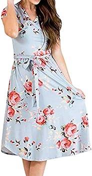 Dubocu Women Dress Short Sleeve V Neck Summer Floral Fancy Bohemian Casual Short Mini Dress Beach Sundress Wit