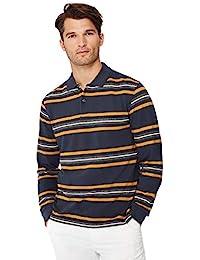 e2b12de9766 Debenhams Maine England Men Big Tall Dark Grey Stripe Print Cotton Polo  Shirt