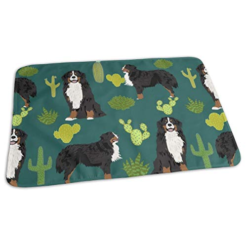 Bernese Mountain Dog Fabric Cute Dog Breed Fabric Cactus Cactus Fabric Dogs Dog Breed Fabric For Dog Owners, Baby Portable Reusable Changing Pad Mat 19.7'x 27.5'