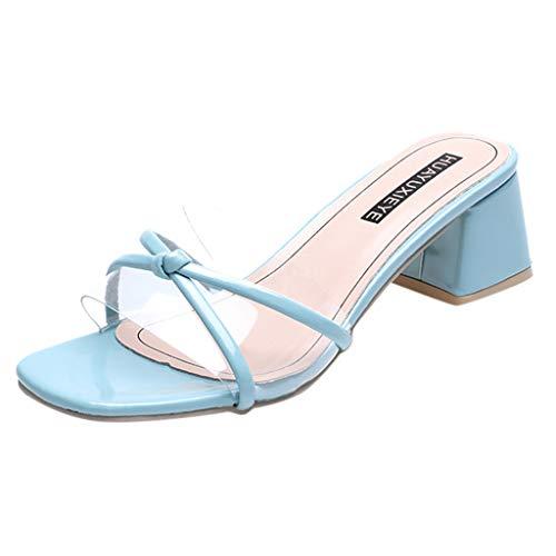 Dasongff Kreuzgurt Strap Transparente Sandals Blockabsatz Pumps Hipster Flip Flops Neue Glitzer Sandaletten Strandsandalen Offene Sandalen -