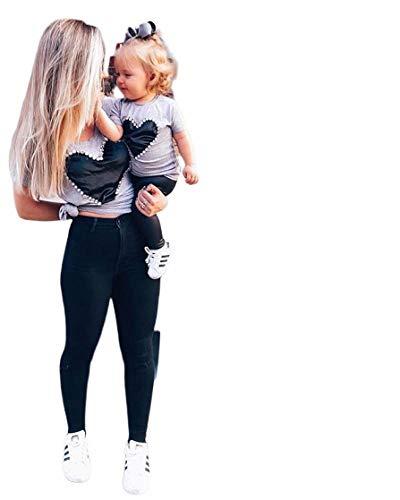 Familien Kleidung, Mutter und Tochter Kleidung Sommer Family Partnerlook Tank Tops T-Shirt Bluse Mom & Me Frauen Lady Mather Kurzarm Heart T-Shirt (Erwachsene, S) -