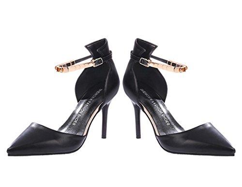 Minetom Donne Moda Cinturino Alla Caviglia Stilettos Scarpe A Punta Scarpe Tacco Alto Sandali Nero