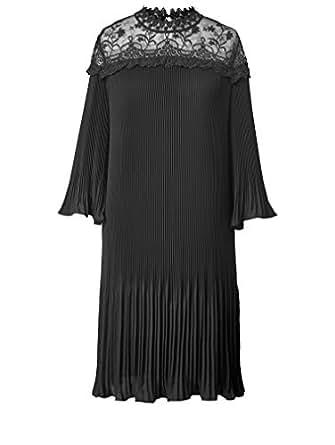 Sara Lindholm Damen Kleid mit Plissee und Spitze Schwarz ...