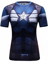 Cody Lundin Femme T-shirt Super Héros Captain Sport Chemise Multicolore