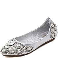 Angrousobiu Taladro de agua de fondo plano solo zapatos zapatos de mujer resplandeciente Comfort Suites son Light-Flat...