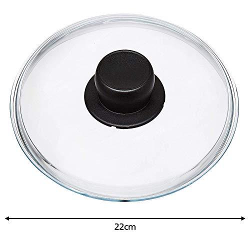 Spares2go Universal-Glasdeckel für Woks, Langzeitkocher und Kasserolen, 22 cm