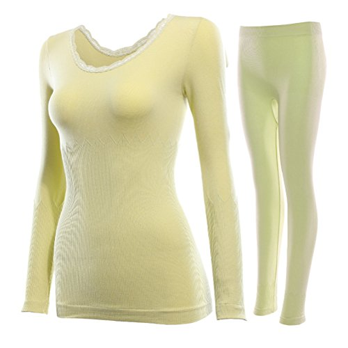 Zhhlaixing Lace Collar Thermal Underwear Women Suit Thick Body Sculpting Slimming Top & Bottom Biancheria intima termica di qualità Yellow