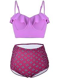 Daditong couleurs pour femme Sexy avec Bandeau rembourré à franges avec bretelles de BIKINI 2 Pièces-S/M/L, L (Violet)