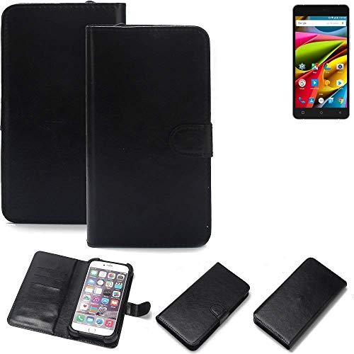 K-S-Trade 360° Wallet Case Handyhülle für Archos 55b Cobalt Lite Schutz Hülle Smartphone Flip Cover Flipstyle Tasche Schutzhülle Flipcover Slim Bumper schwarz, 1x