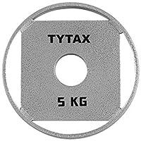 TYTAX Disco olímpico Original 5KG de Acero Plateado Premium con 4 agarres de la Mejor Calidad